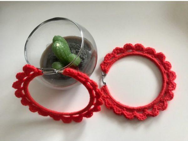 Ръчно плетени обеци Аз