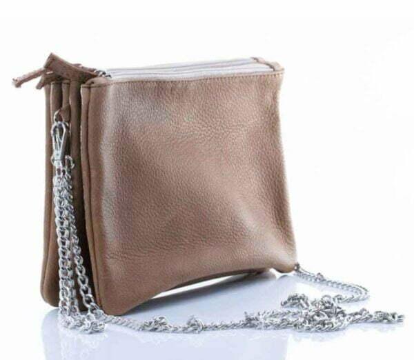 Чанта от естествена кожа 3 в 1 в цвят табако