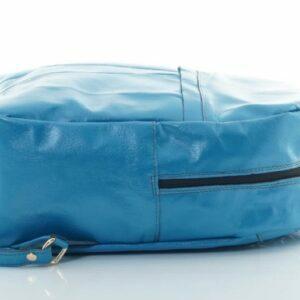 синя раница от естествена кожа.